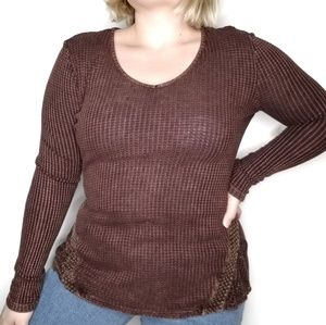 One World Thermal Waffle Knit Long Sleeve Burnout